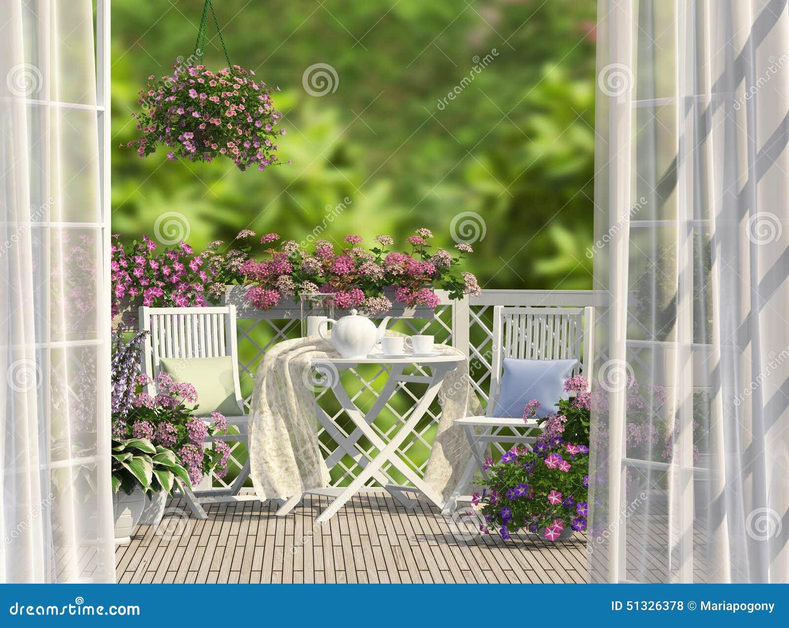 Balkon Und Blumen Stockfoto Bild Von Land Leuchte Grun 51326378