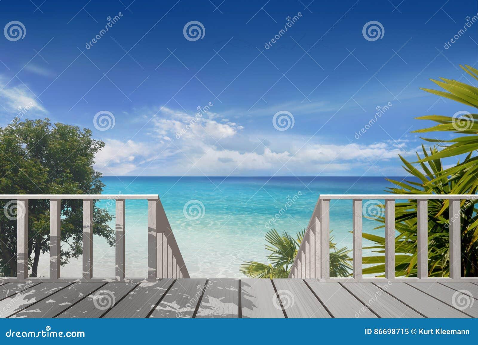 Balkong på en strand