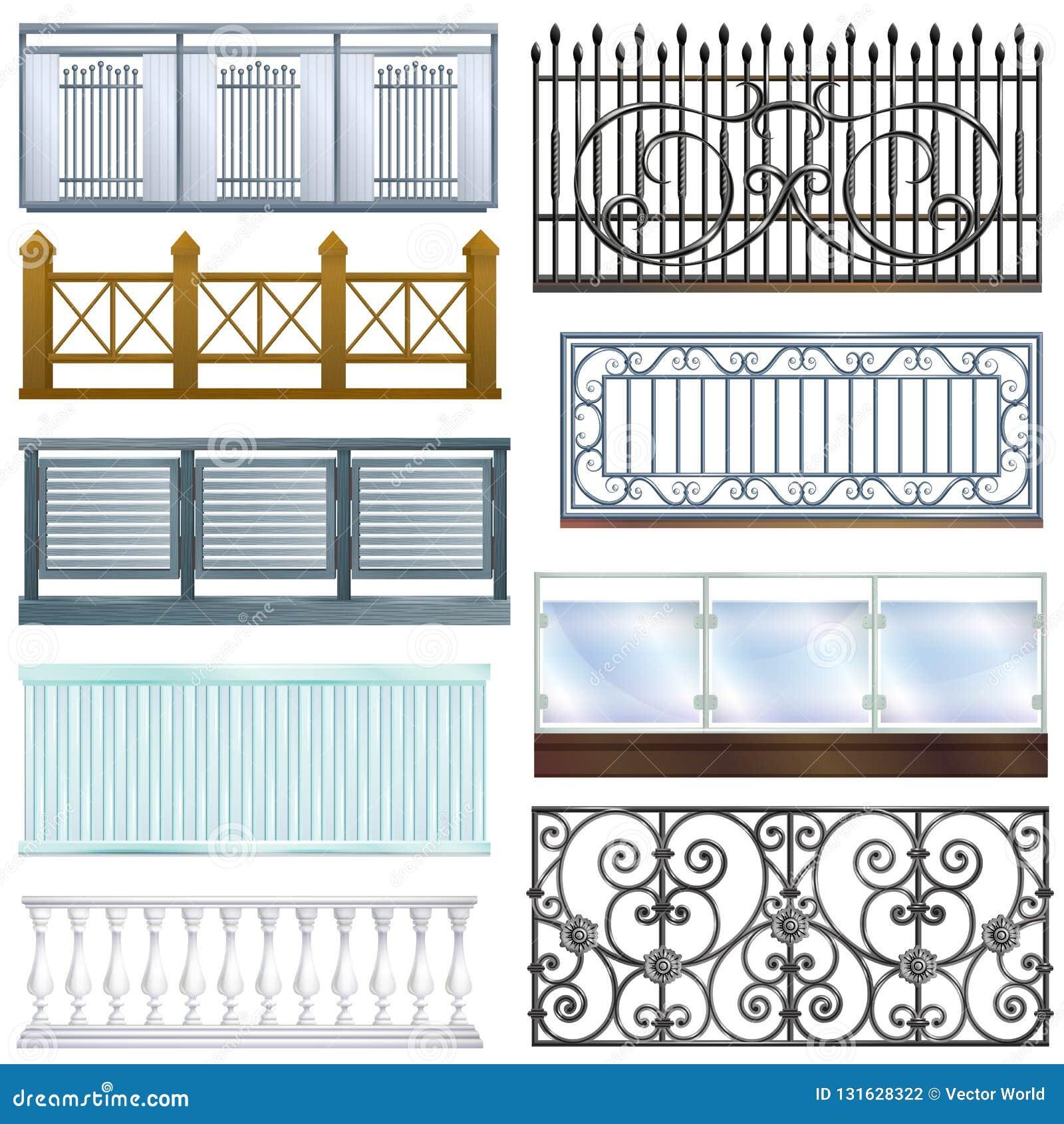 Balkonowego poręcza rocznika metalu stali wektorowego ogrodzenia dekoracji architektury projekta balconied ilustracyjny ustawiają