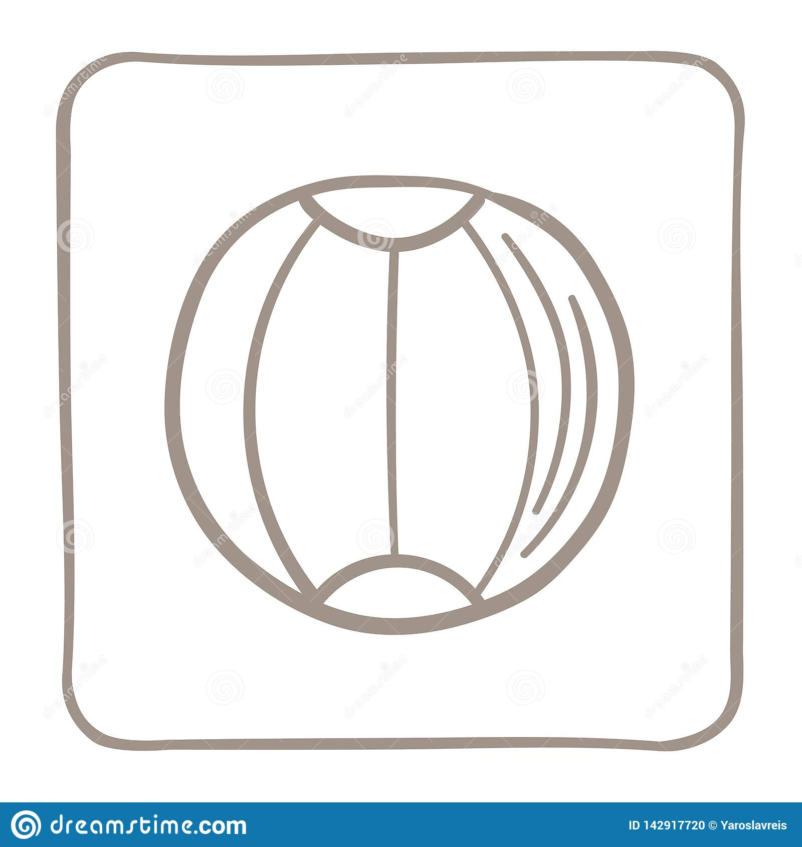 Beach ball Icon in a light brown frame. Vector graphics.
