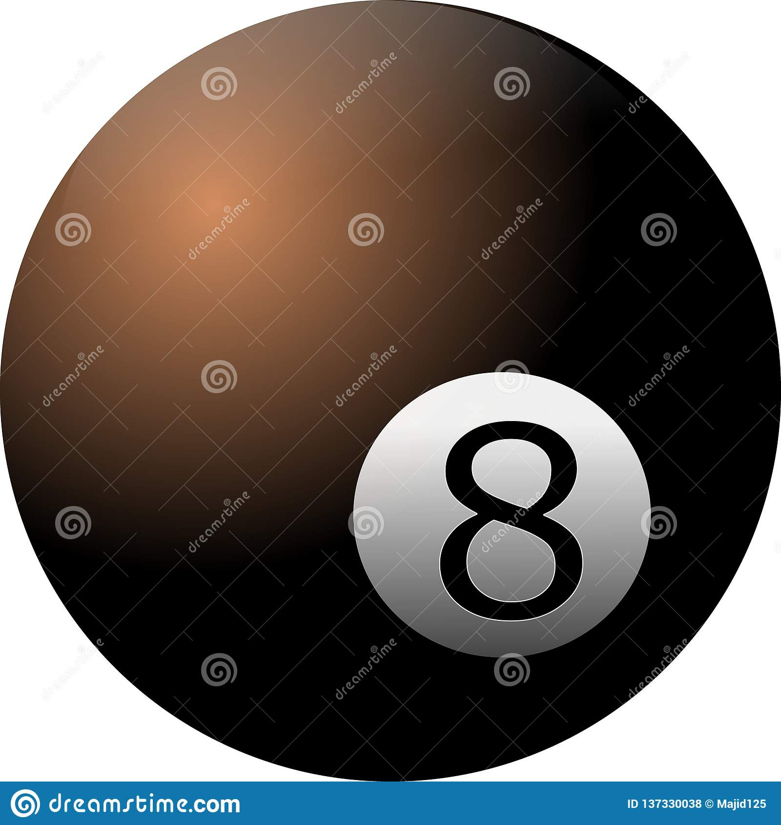 Ball 8 auf weißem Hintergrund