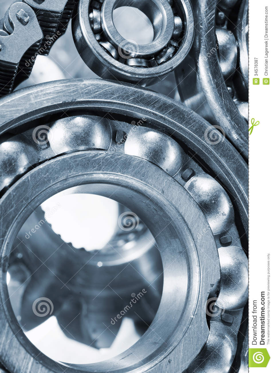 Ball-bearings and gears in close-ups