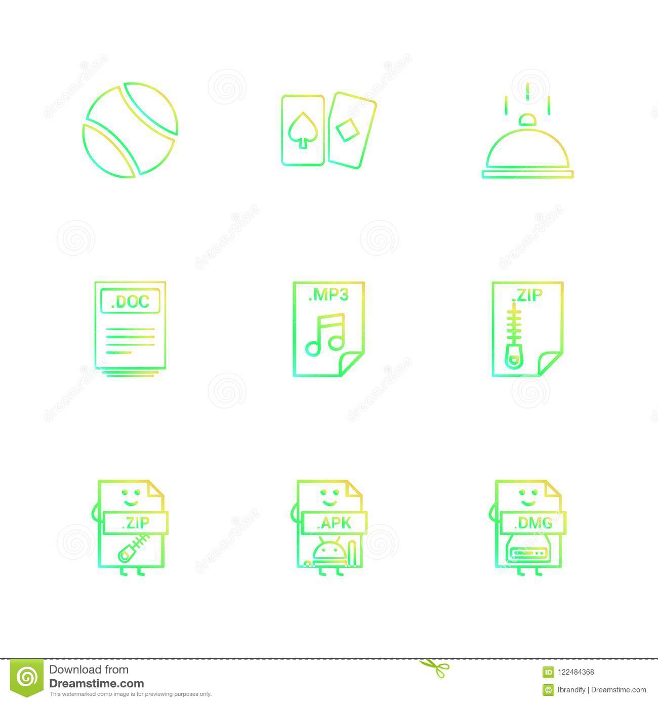 Ball , Card , Dish , Doc , Word File , Zip , Compressed File , M
