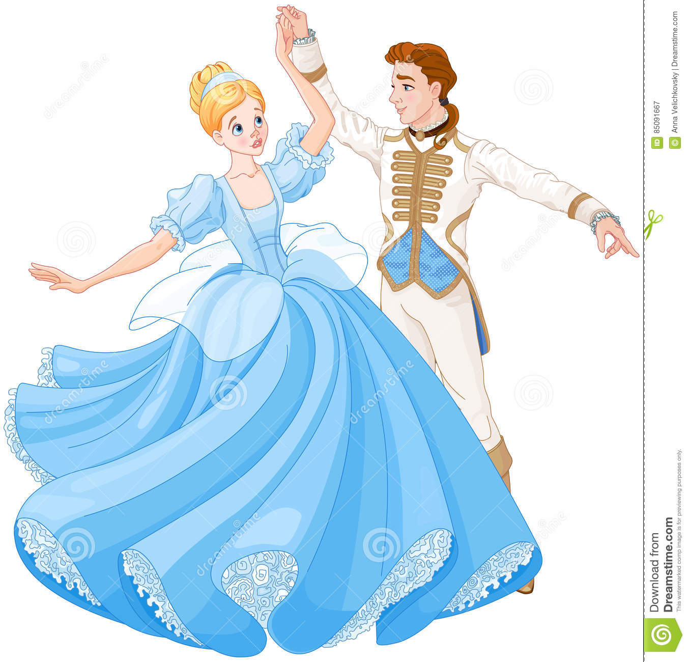 The Ball Dance Of Cinderella And Prince Stock Vector Illustration