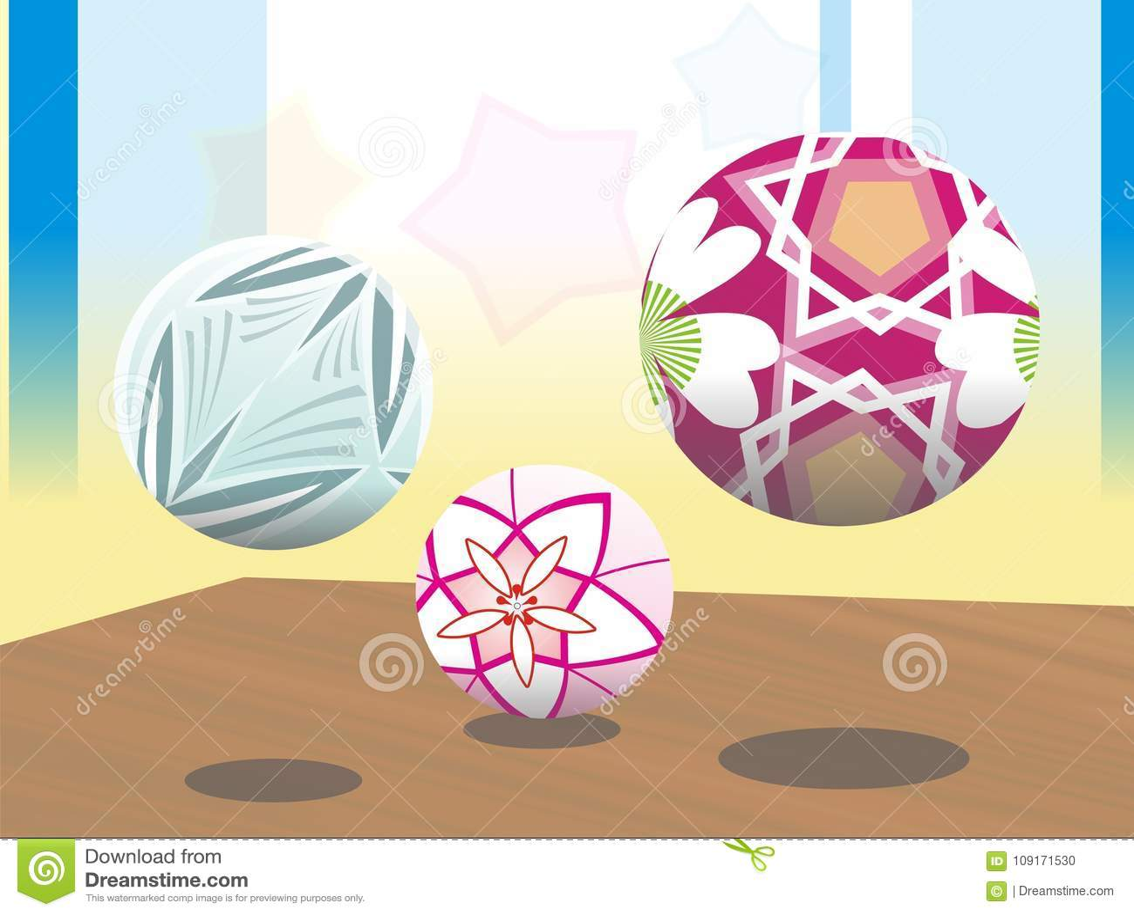 3 ball flower motif colorfull