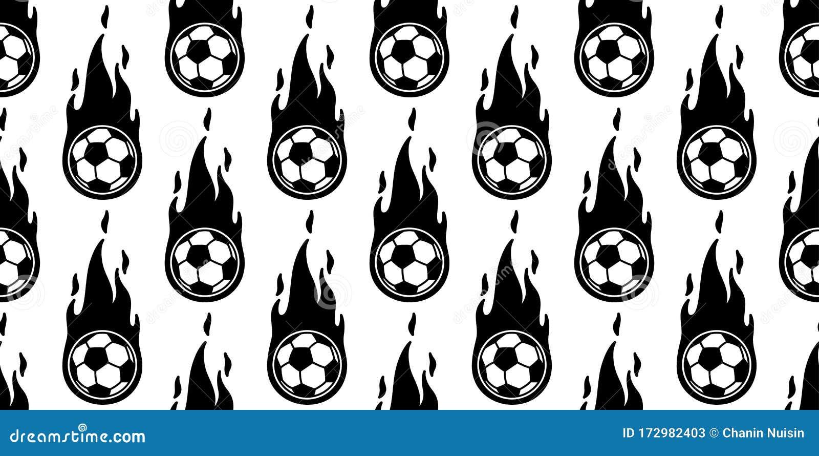 Pattern For Sport Wallpaper: Ball Football Soccer Fire Seamless Pattern Vector Sport
