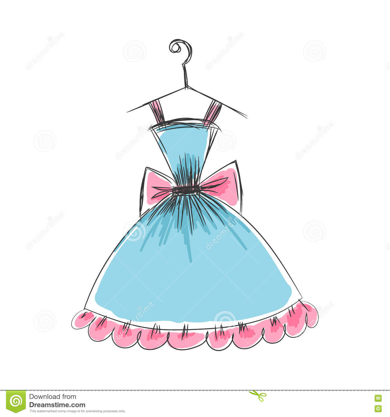Ball Gown Hand Drawing On A Hanger Stock Vector - Illustration of ...