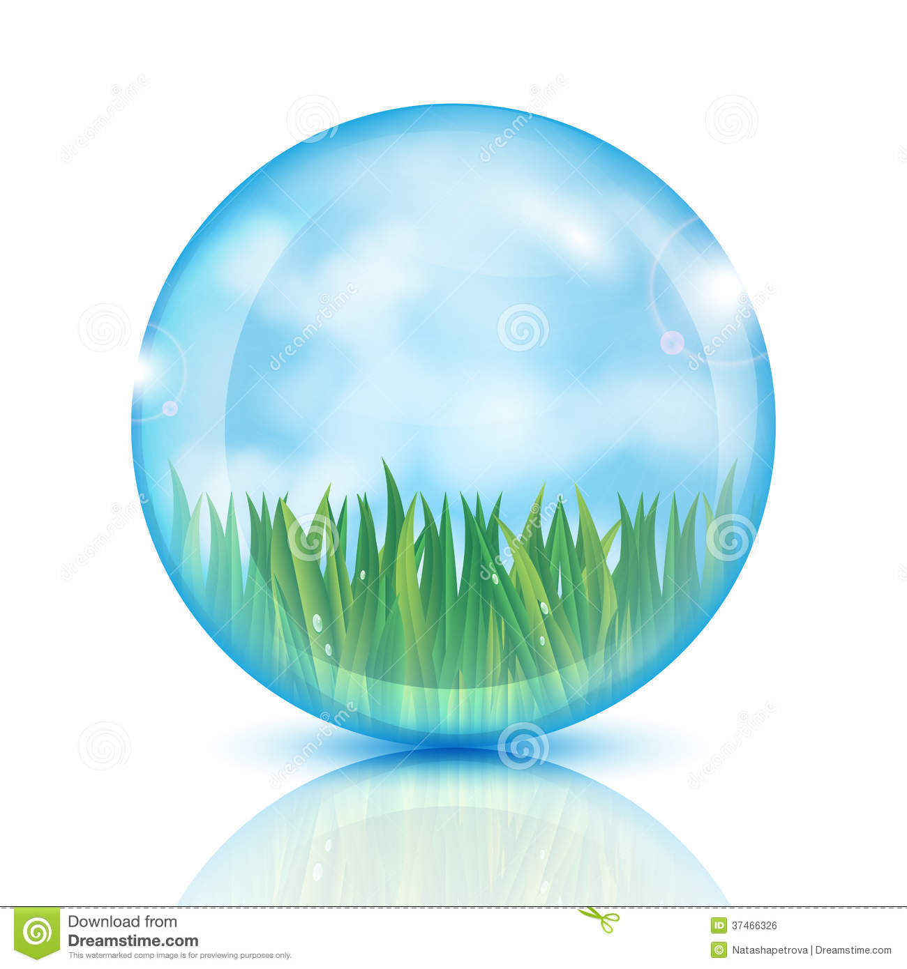 Ball with green grass and blue sky