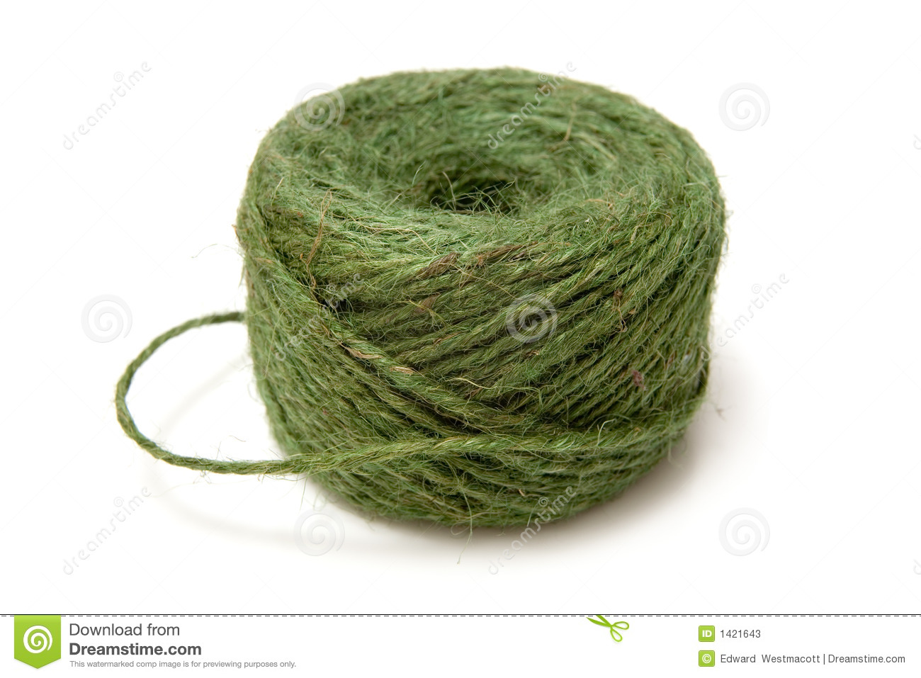 Delicieux Ball Of Green Garden Twine Or String, Isolated On White Background.