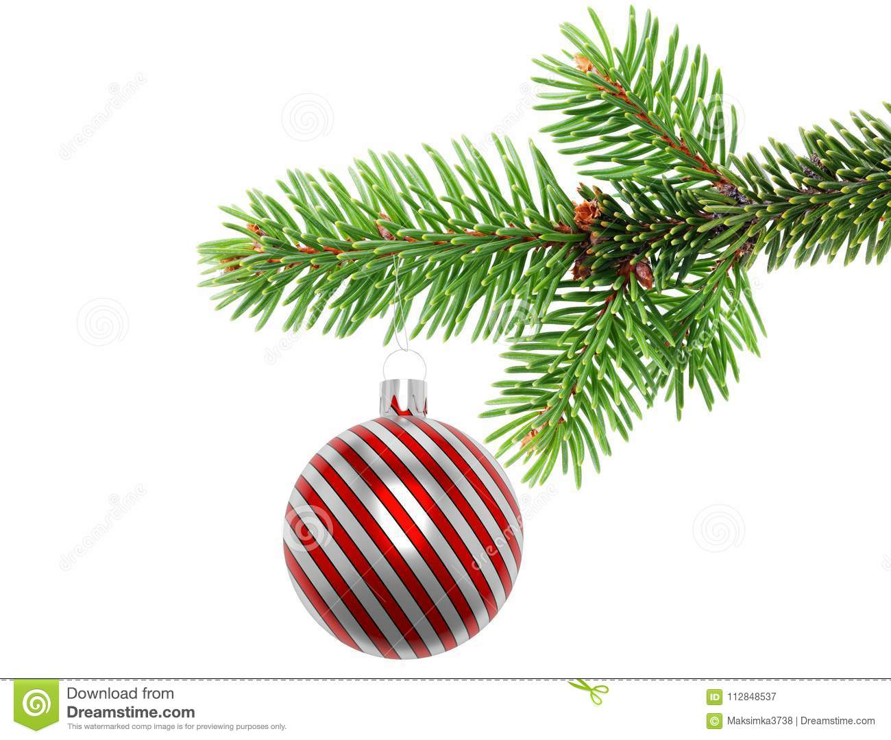Ball Ornament On Tree Branch Stock Image Image Of Dangling