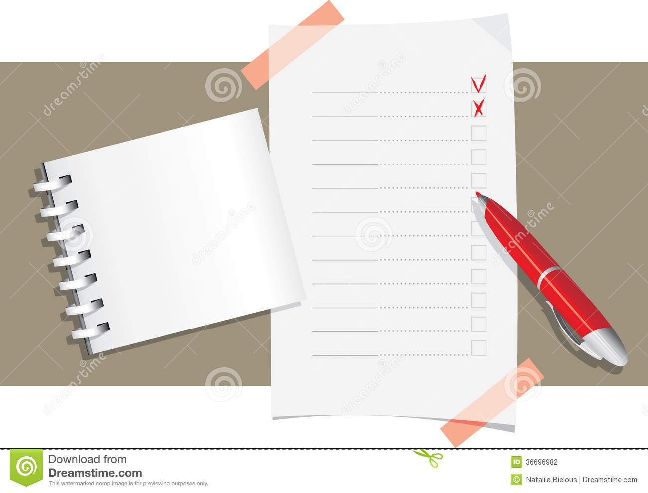 Ball pen, notepad and application form template. Illustration.