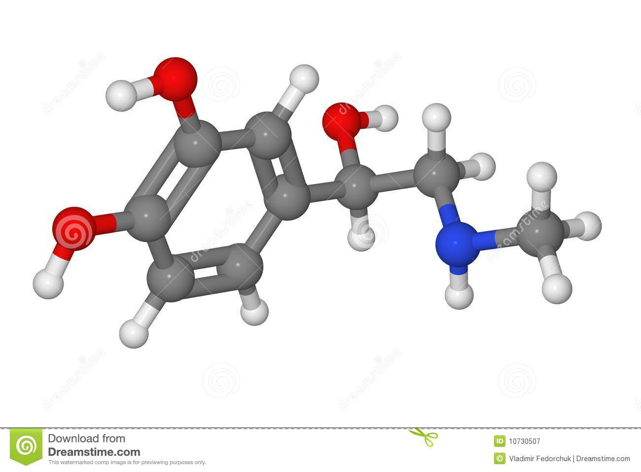 Ball And Stick Model Of Adrenaline Molecule Stock