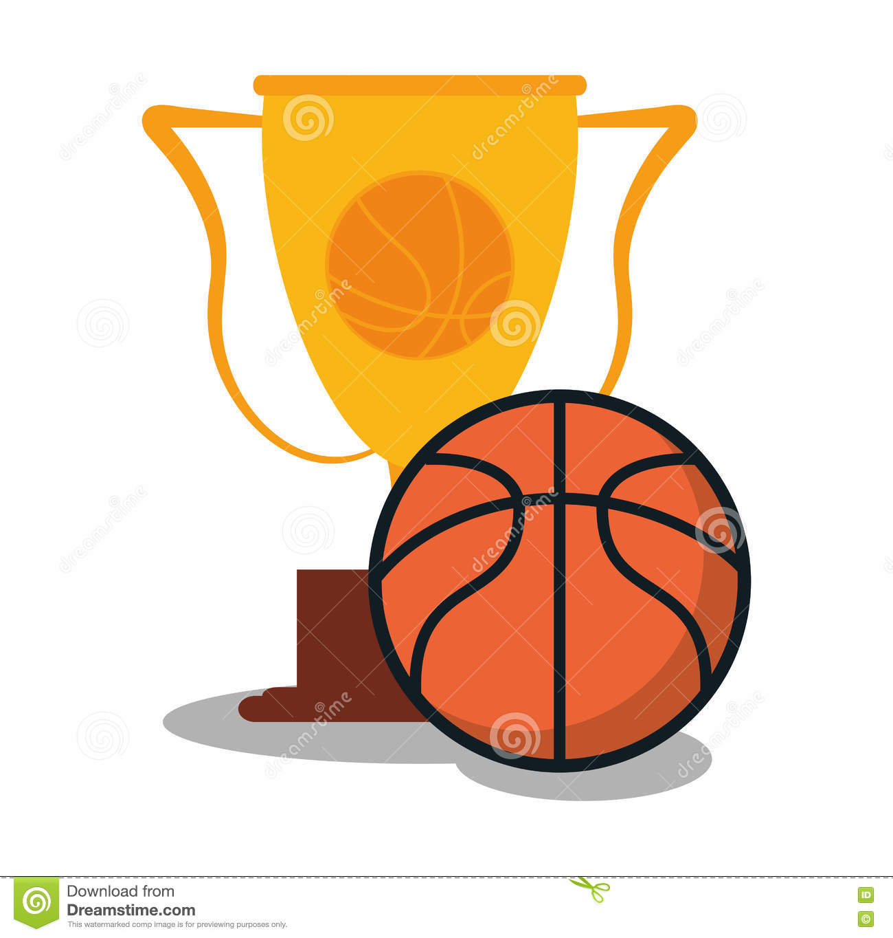 Download Ball And Trophy Of Basketball Sport Design Stock Vector