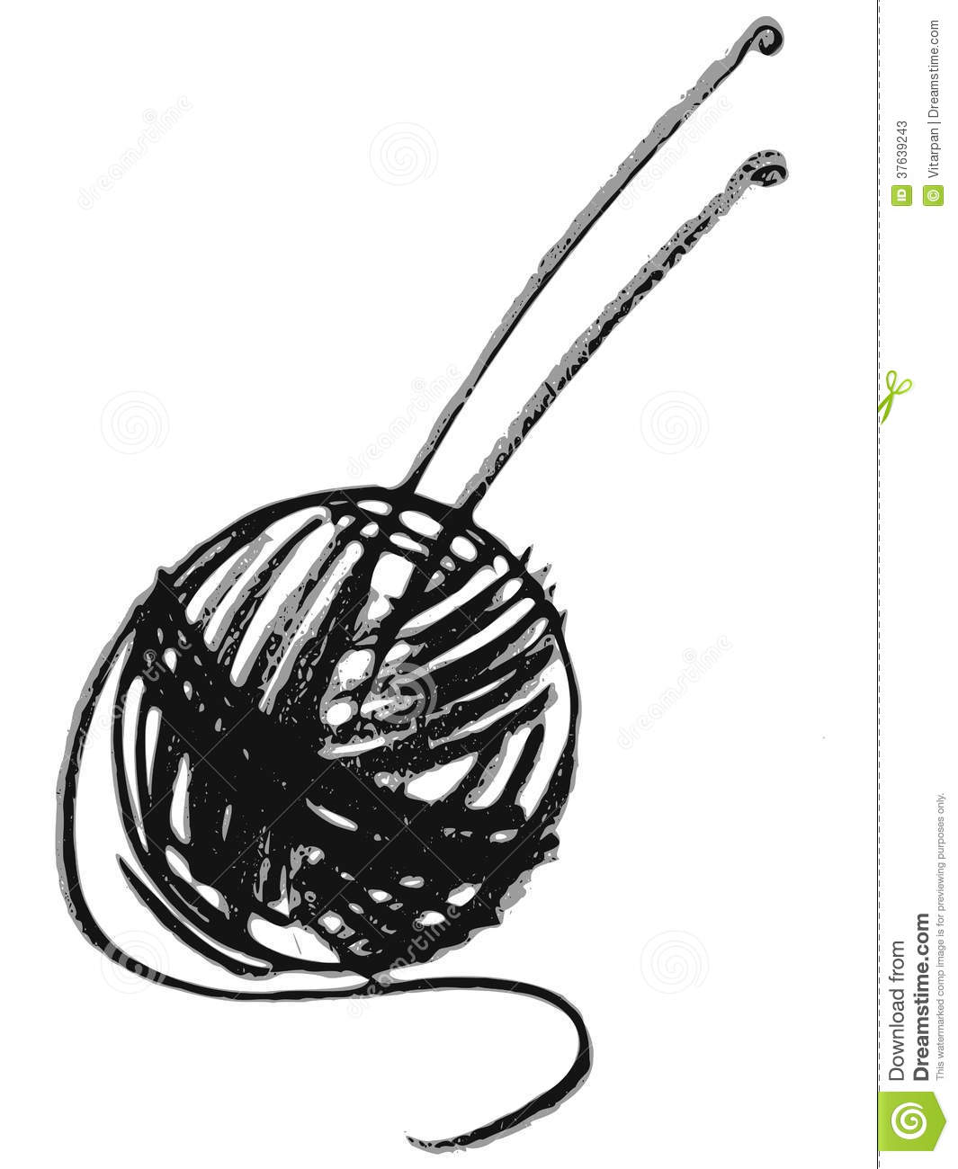 Cartoon Knitting Needles : Ball of yarn and knitting needles stock photos image