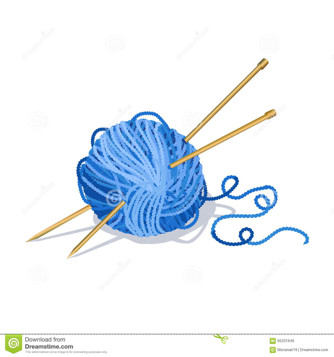 Cartoon Knitting Needles : Yarn ball and needles icon vector illustration