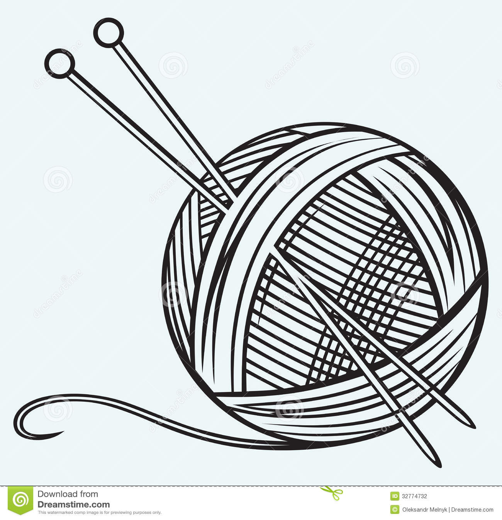 ball of yarn and needles illustration 32774732 megapixl