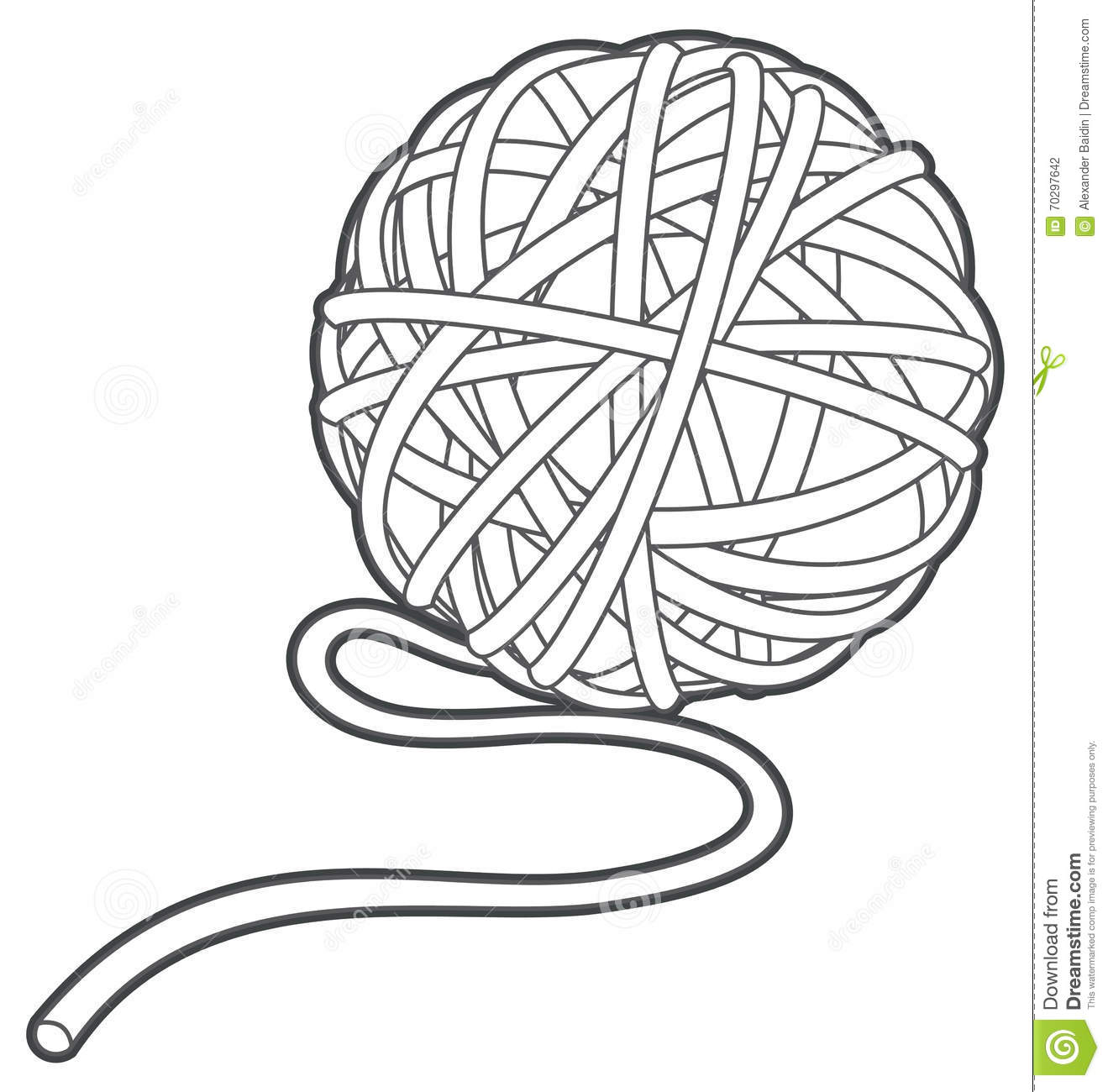 Yarn Clipart Black And White Ball Of Yarn Vector Ou...