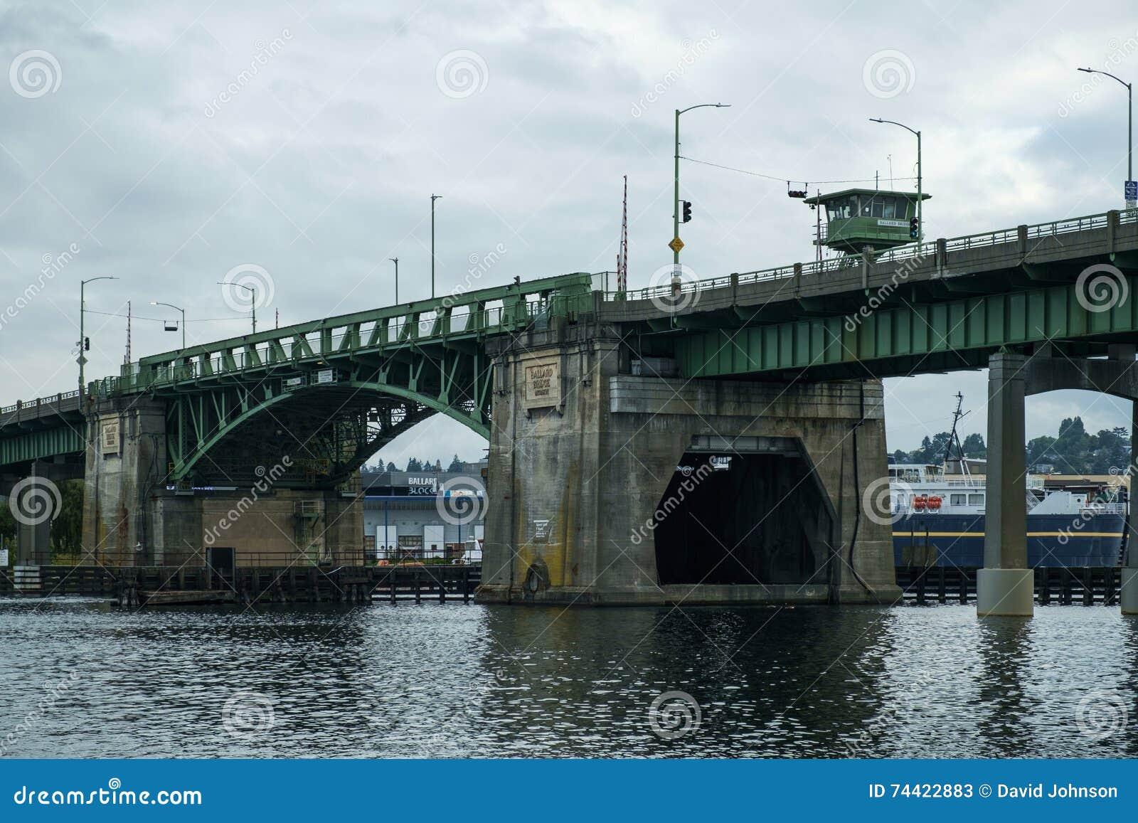 Ballard Bridge Closed Position Editorial Stock Photo - Image of