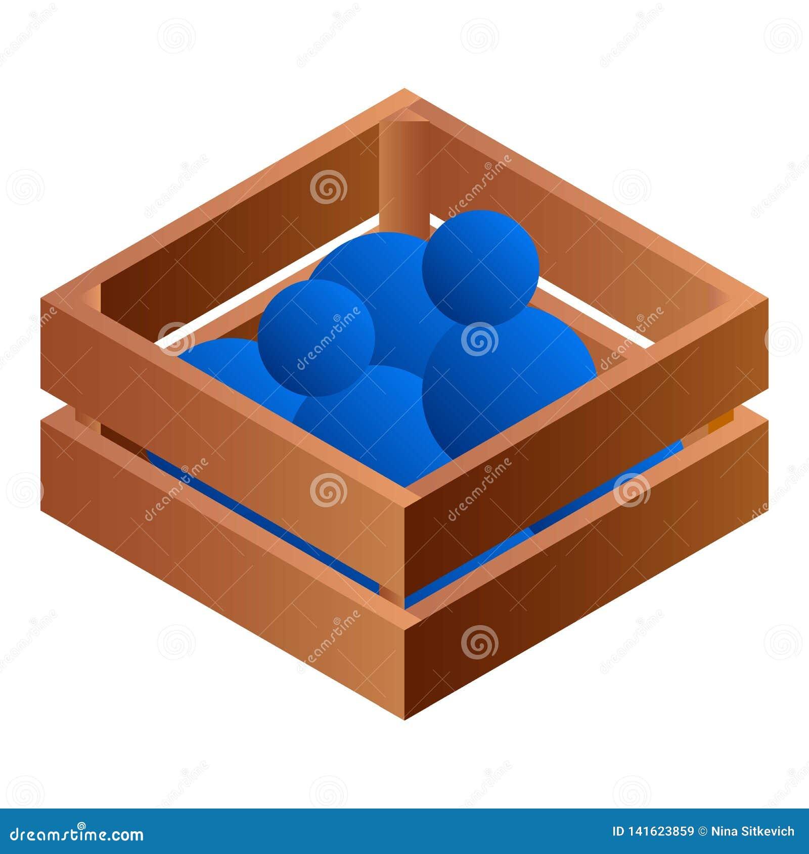 Ballen in houten doospictogram, isometrische stijl
