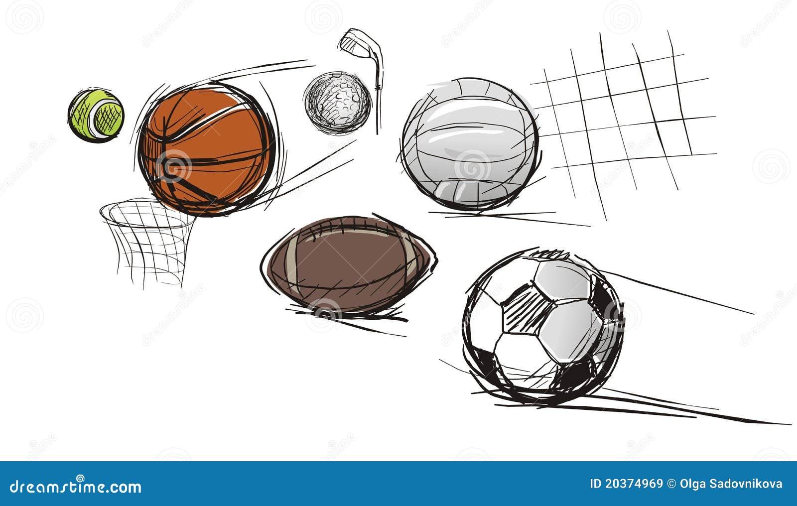ballen voor verschillende soorten sporten vector illustratie illustratie bestaande uit. Black Bedroom Furniture Sets. Home Design Ideas