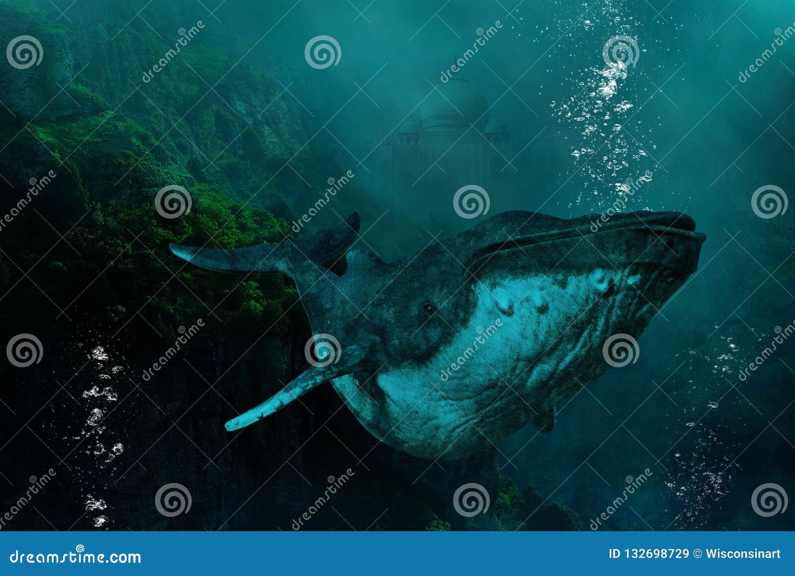 Ballena jorobada submarina surrealista, naturaleza