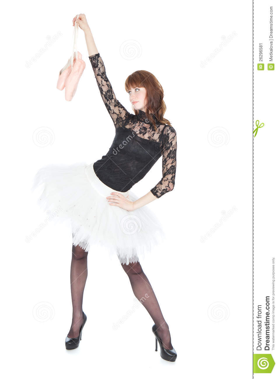Ballerina With Ballet Pointes Shoes On White Stock Image