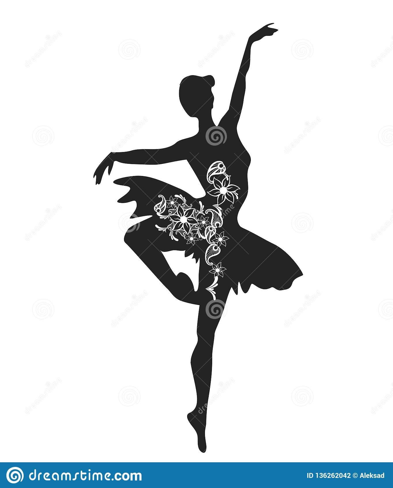 6941db1db1a1f Ballerina Black Silhouette. Ballet Dancing Outline Stock Vector ...