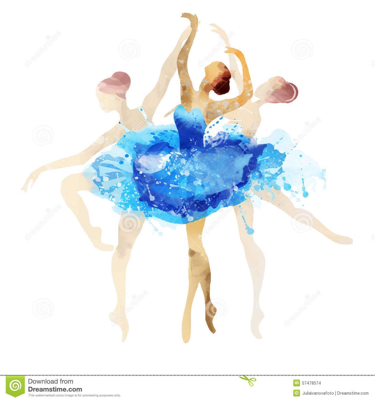 Ballerina In Blue Vector Watercolor Stock Vector