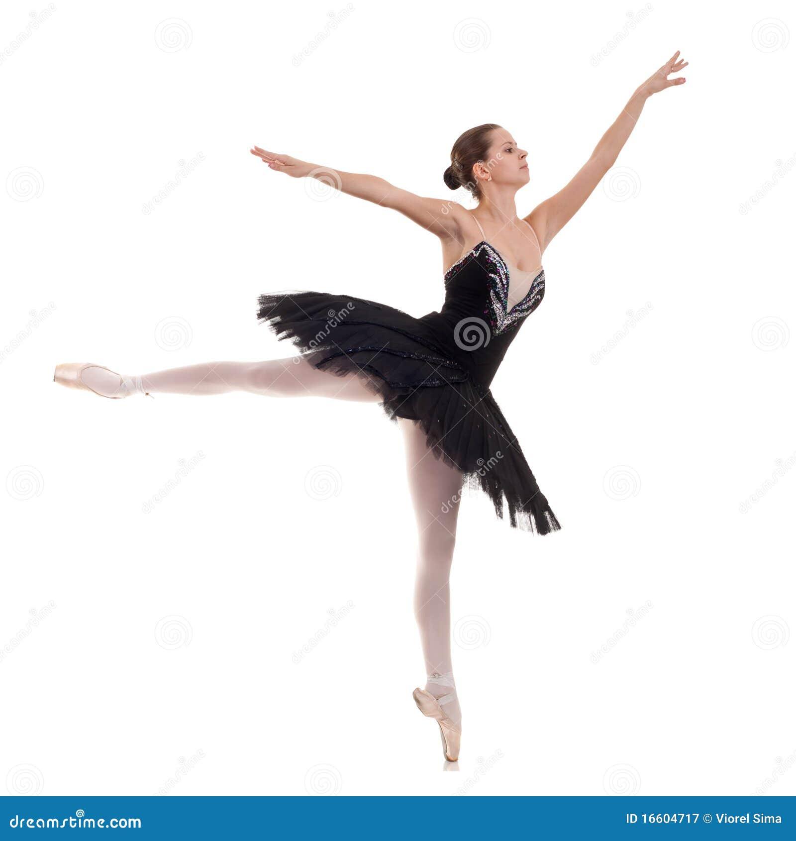 Ballerina che porta tutu nero che propone sulla priorità bassa dello ...