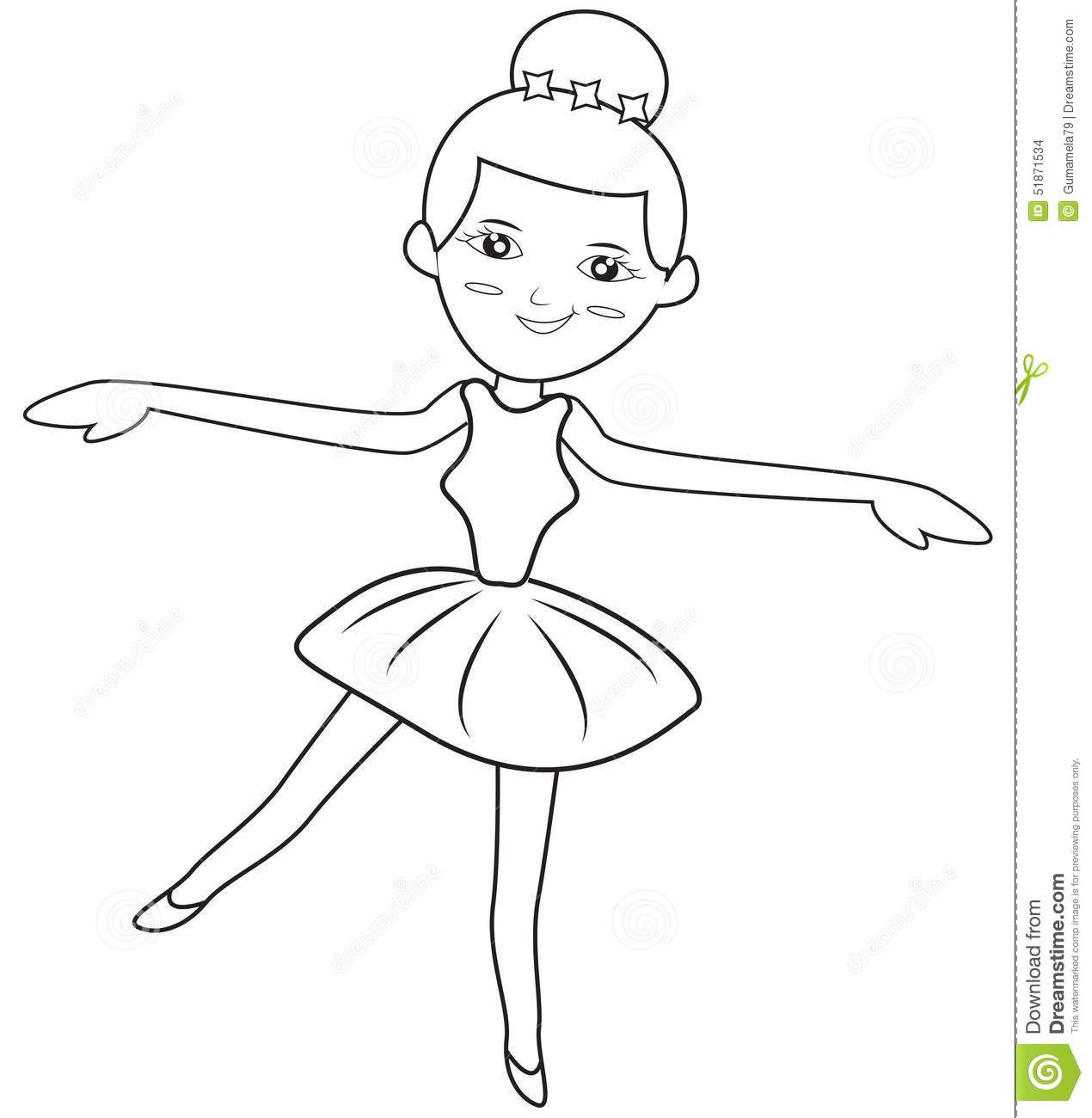 Ballerina Coloring Page Stock Illustration