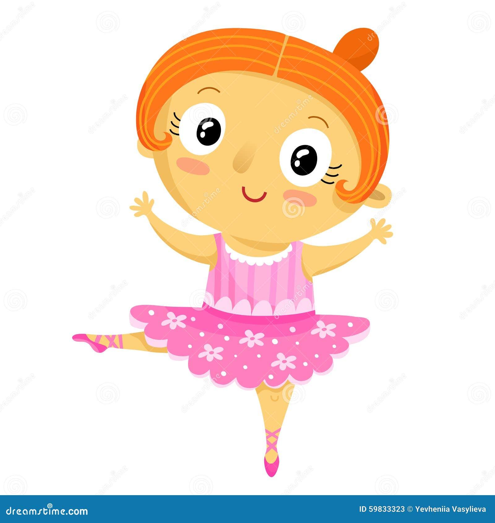 Ballerina Della Ragazza Personaggio Dei Cartoni Animati Isolato Su