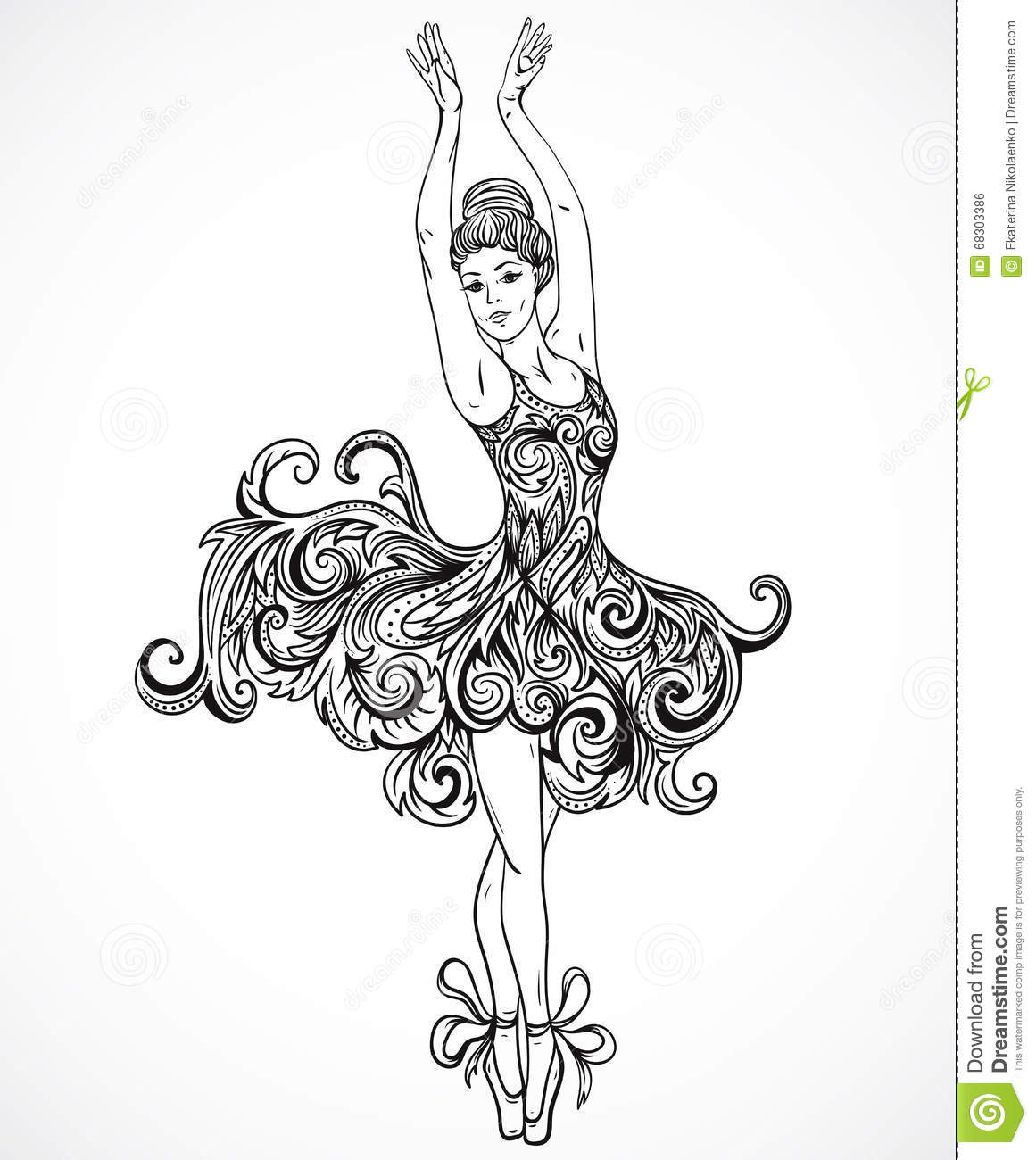 Ballerina with floral ornament dress. Vintage black and white hand drawn vector