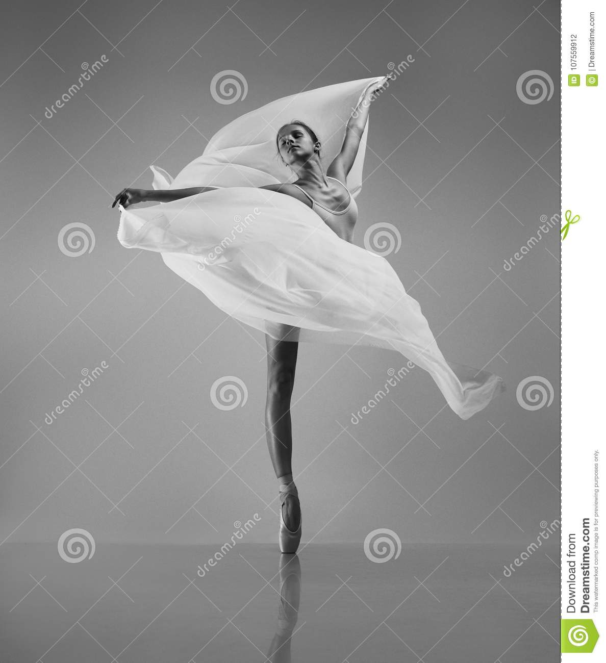 Ballerina with flying cloth