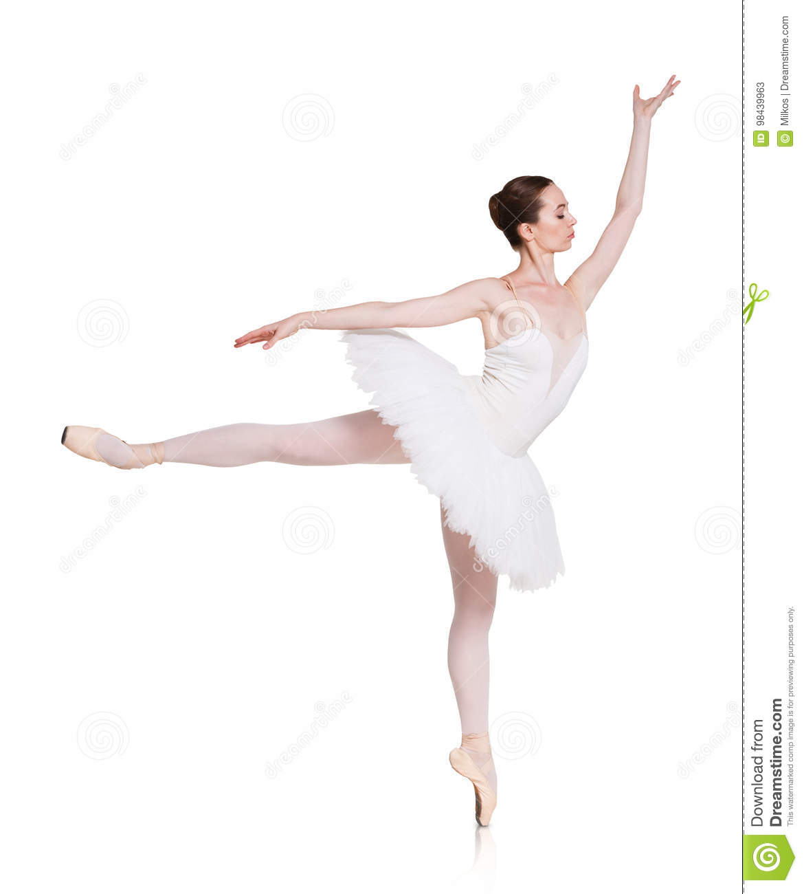 bd0131b1e5681 Ballerina making arabesque against white background, isolated. Professional  dancer in tutu skirt and pointe. Choreography classes concept