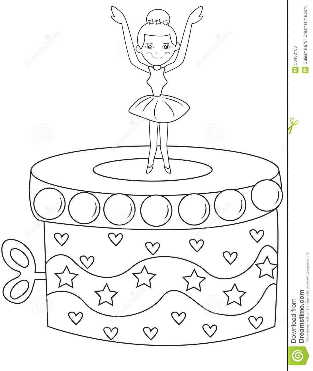 Ballerina Music Box Coloring Page Stock Illustration