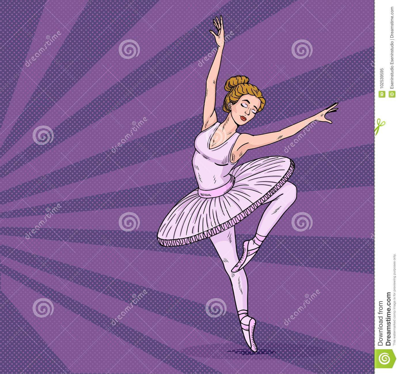 ballerina pop art ballet studio poster design template the woman