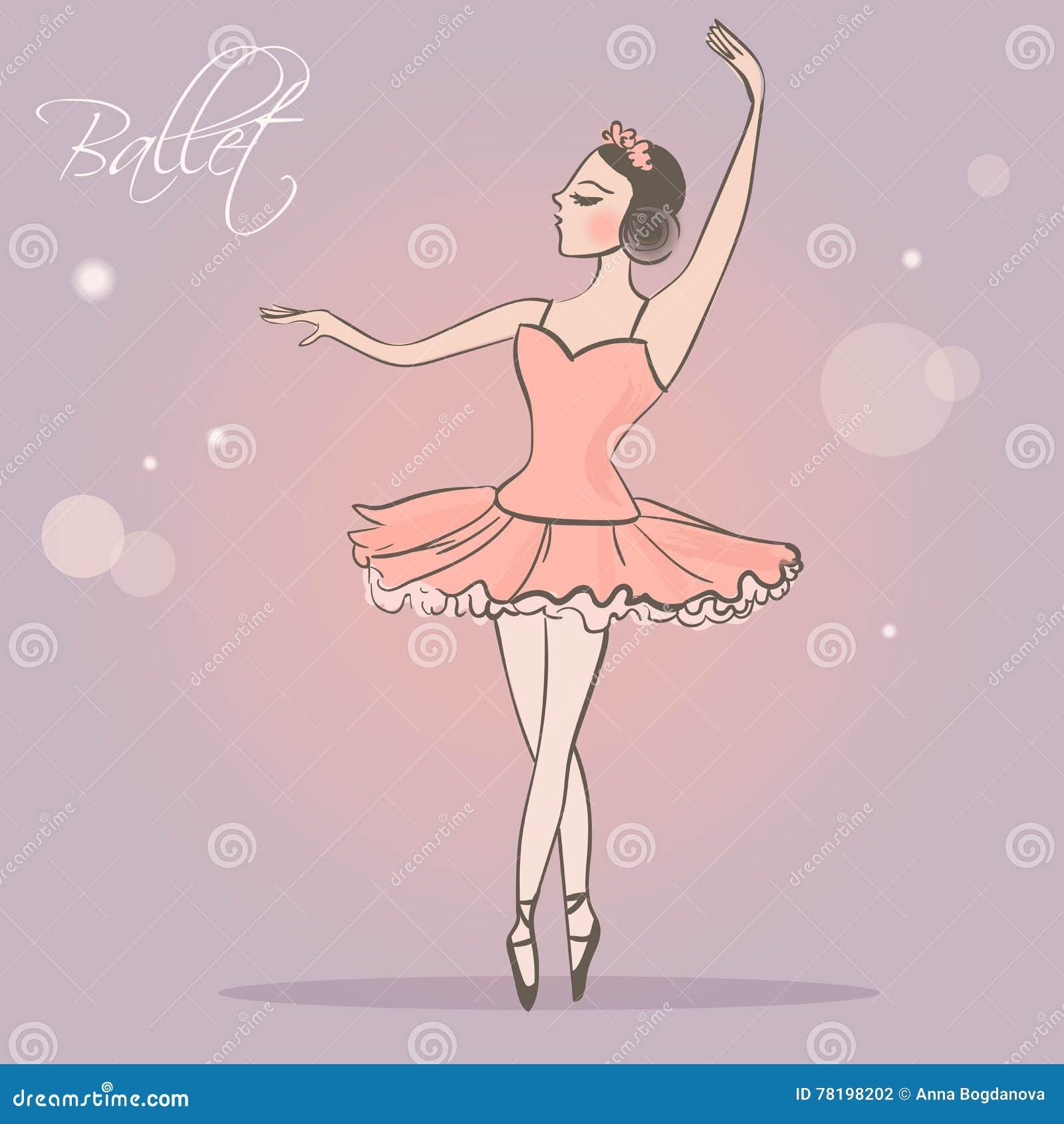 Ballerina ragazza di dancing in gonna fertile illustrazione