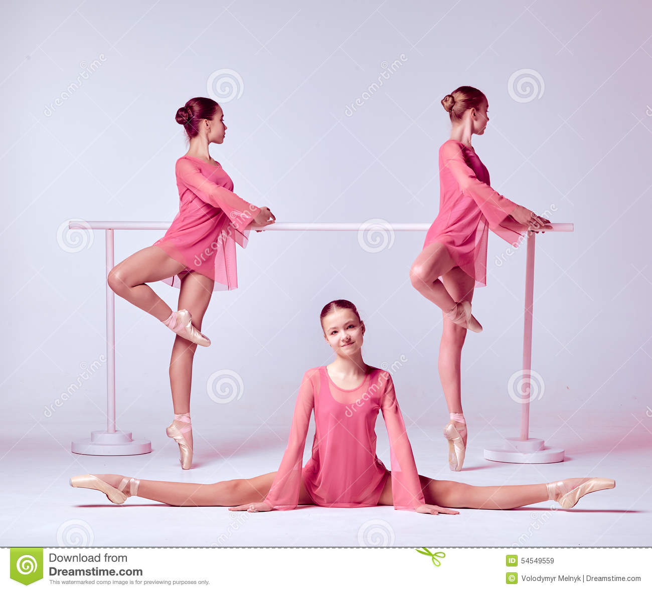 ballerinas stretching on the bar stock image - image of pretty