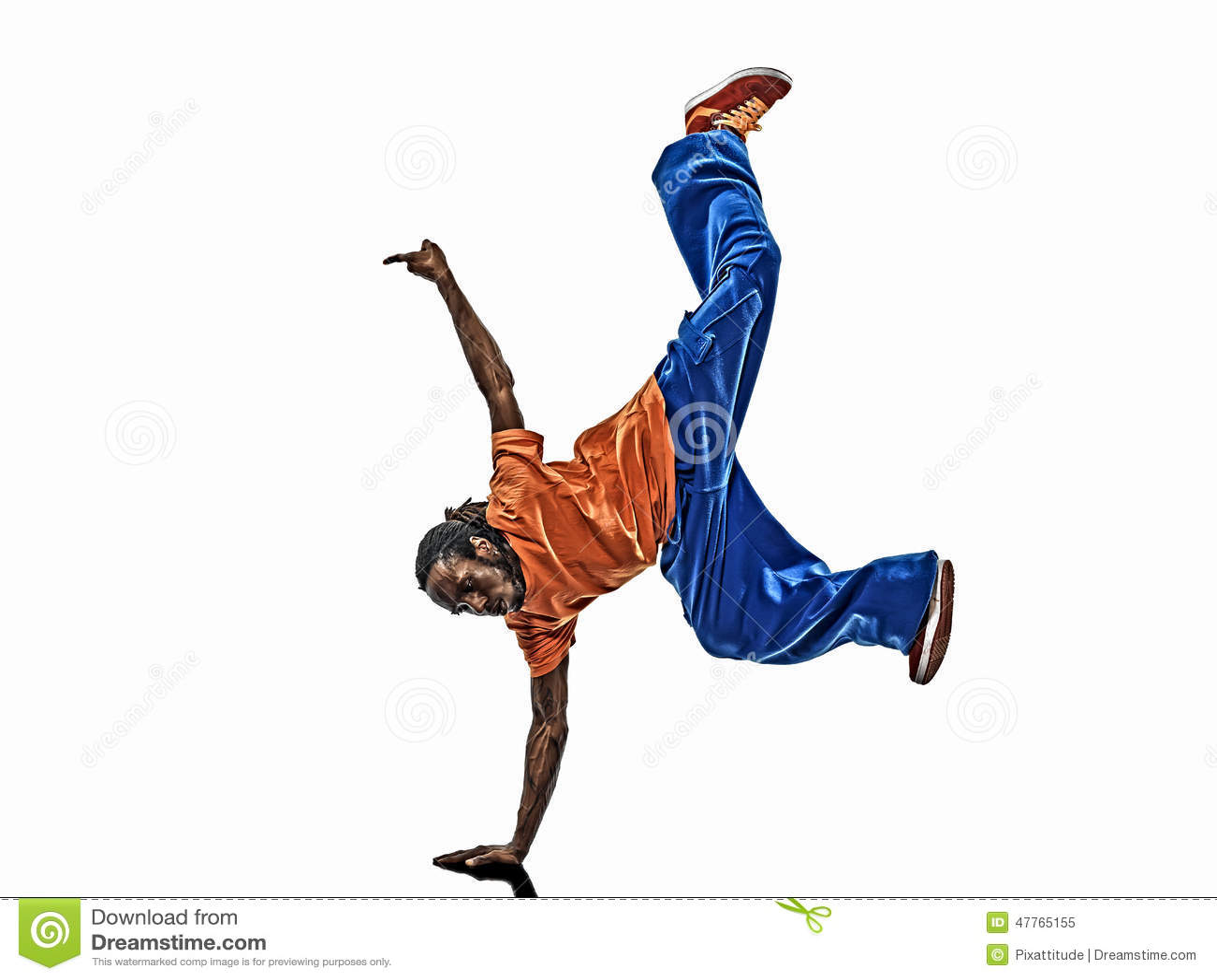 Ballerino acrobatico hip-hop della rottura che breakdancing verticale del giovane