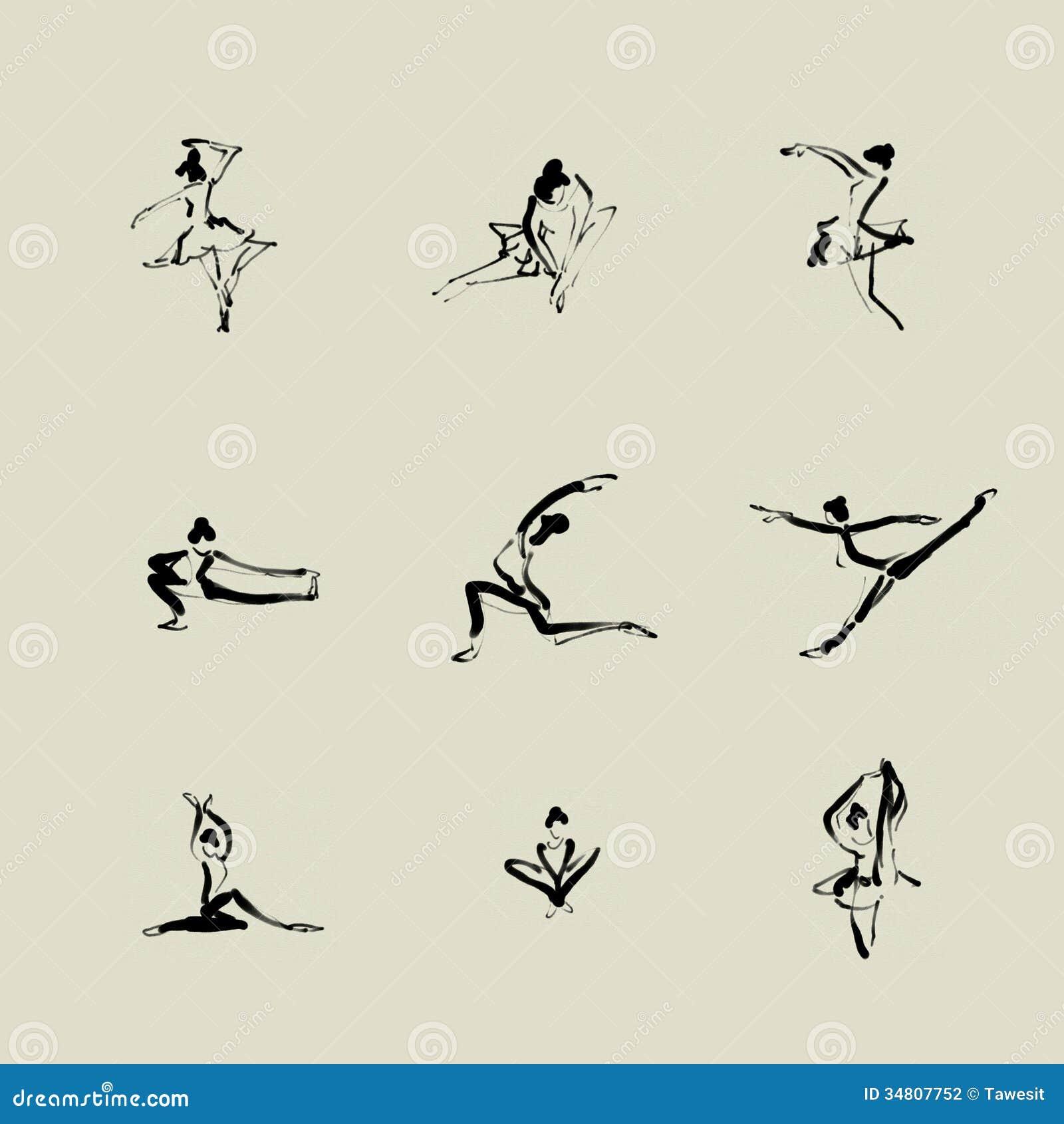 Ballet Chinese Brush Icon Drawing Stock Illustration