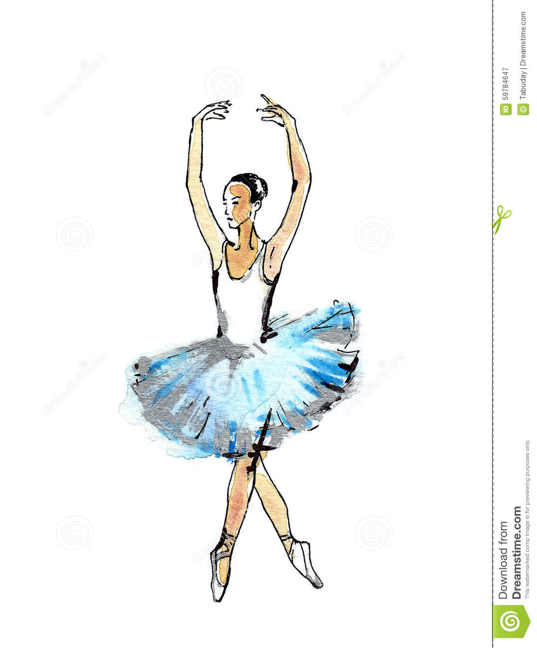 Ballet dancer black and silver drawing on a blue watercolor white