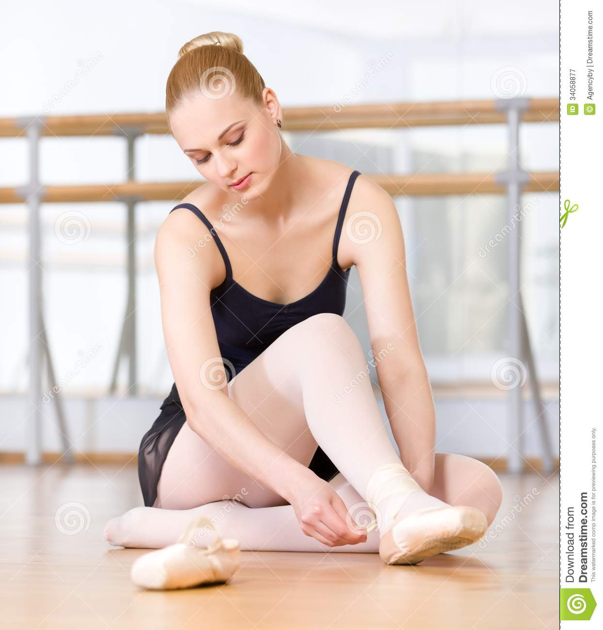 Royalty Free Stock Photography Ballet Dancer Laces Ribbons Pointes Sitting Wooden Floor Ballerina Image34058877 on Dance Studio Floor Plans