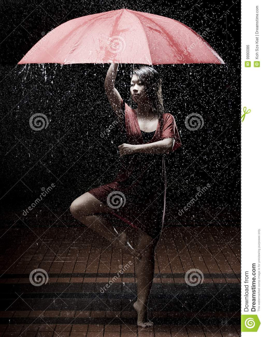 Ballet dancer in the rain
