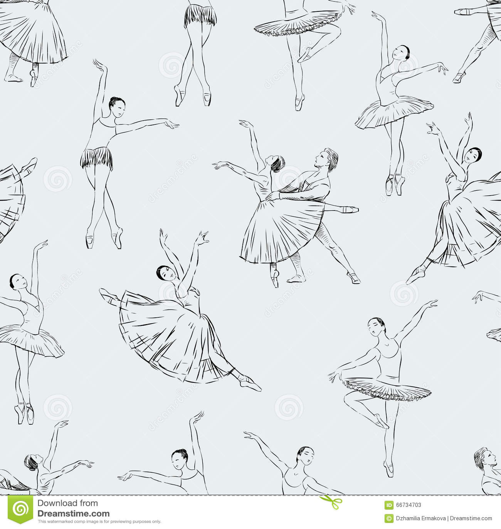 Seamless pattern of ballet dancers royalty free stock photography - Royalty Free Stock Photo Ballet Dance Pattern