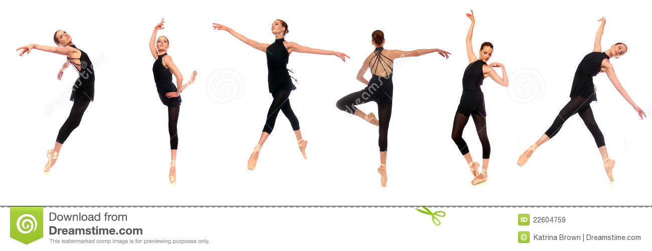 Ballet En Pointe Poses In Studio Stock Image - Image: 22604759