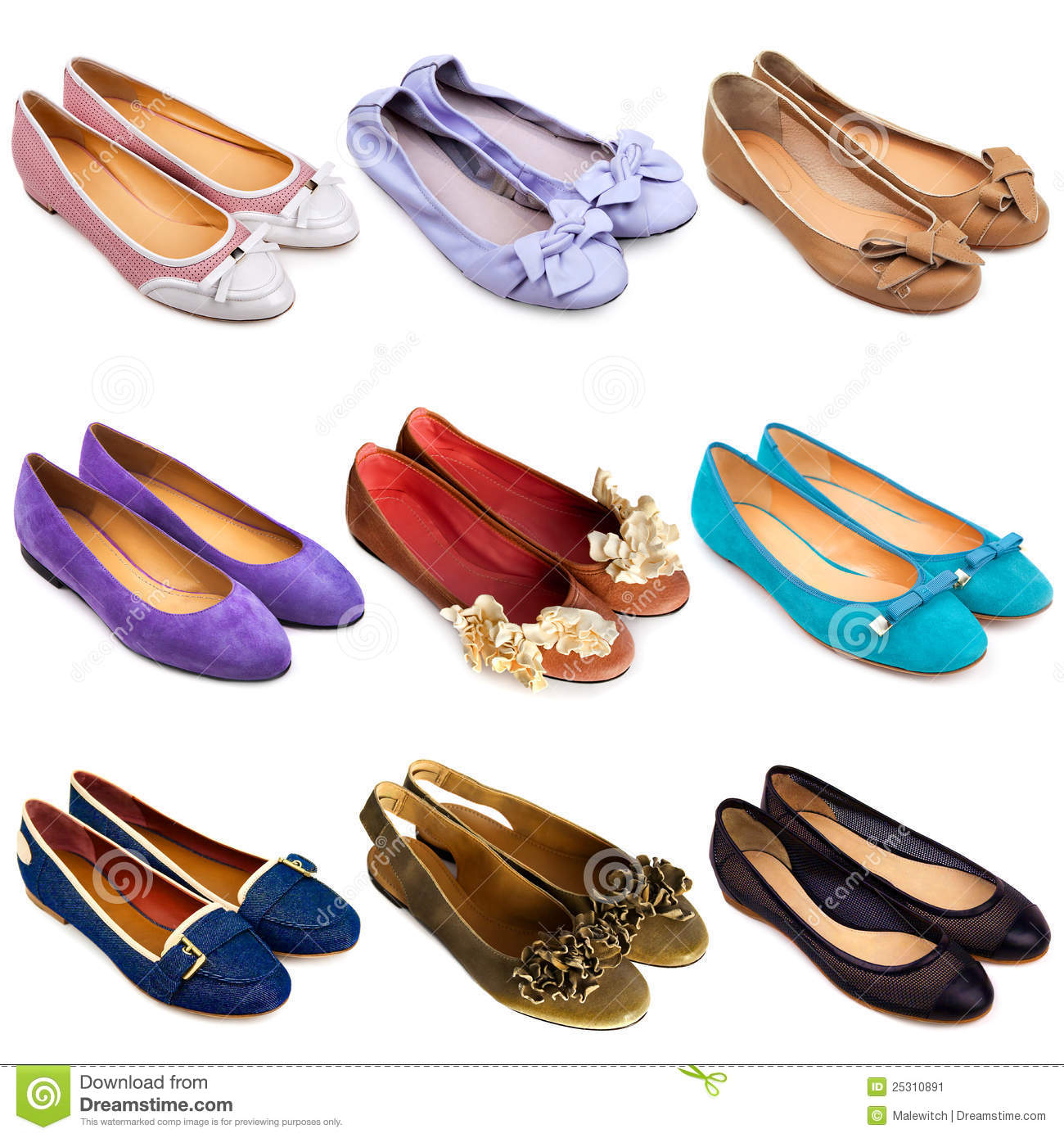 594036704 Set of multicolored, female ballet flat shoes on a white background. 9  pieces.