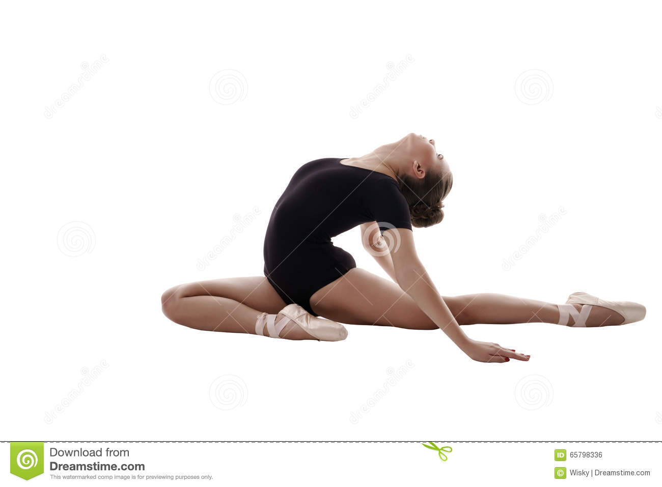 Flexible Ballet Dancer Stretching In Retro Style