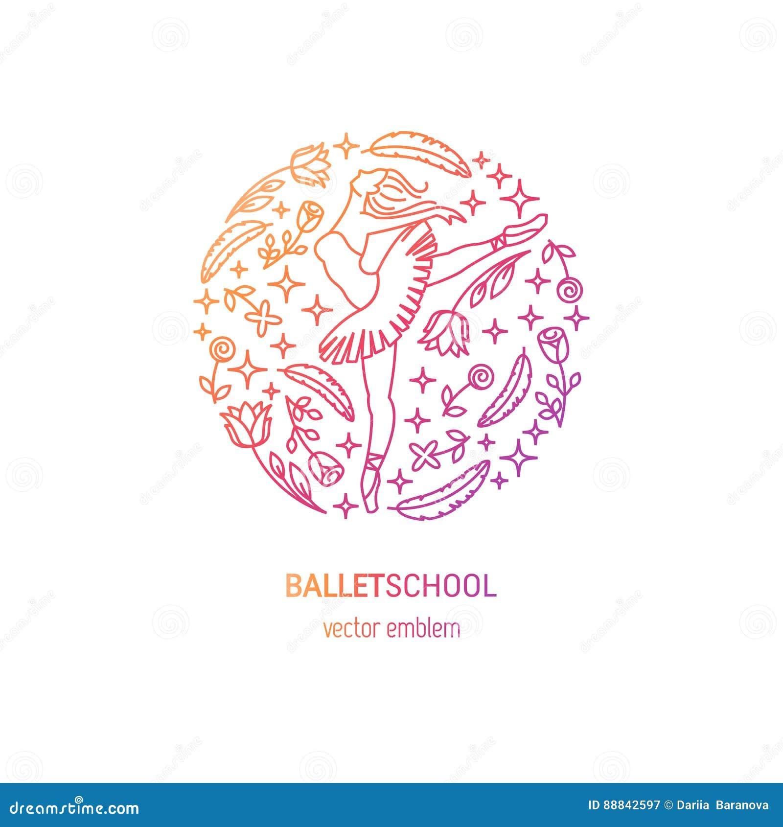 ballet school logo stock vector illustration of design 88842597