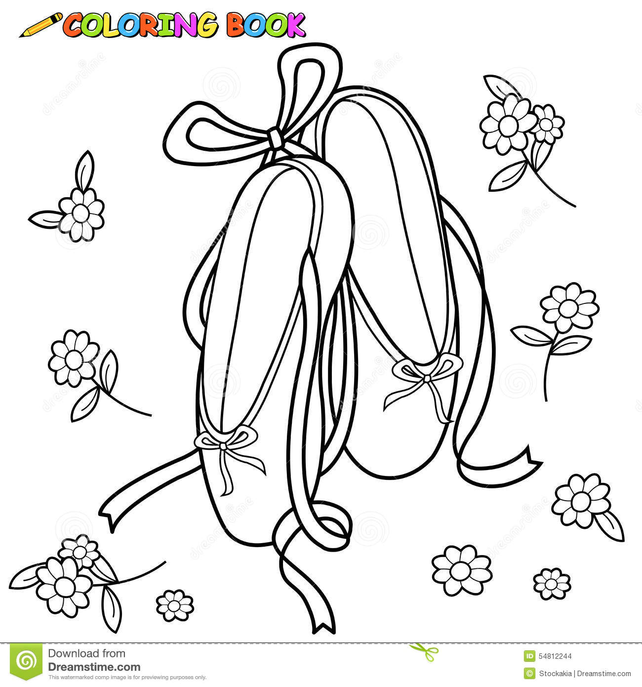 Ballet shoes coloring page stock vector. Illustration of slipper ...