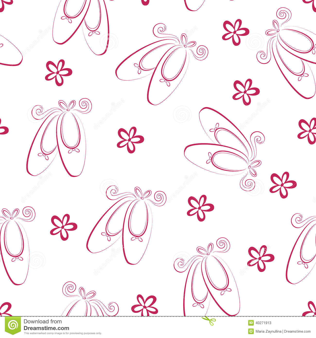 Ballet Shoes Pattern Stock Vector - Image: 40271913